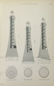 ANTIQUE PRINT DATED C1870'S LIGHTHOUSE ENGRAVING SKERRYVORE 1838 WOLF ROCK 1862
