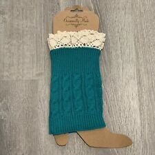 Occasionally Made Womens Boot Cuffs Turquoise Green Lace Trim  New SX11