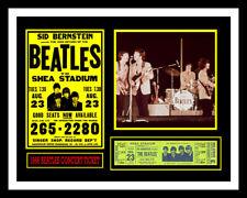 1966 BEATLES *SHEA STADIUM* UNUSED CONCERT TICKET & PHOTO DISPLAY