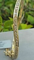 2.Ct Diamond 14K Yellow Gold Finish Wave Half Eternity Bangle Bracelet