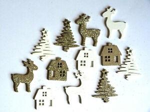12 Holz Streuteile Weihnachten Haus Tannenbaum Rentiere Streudeko *