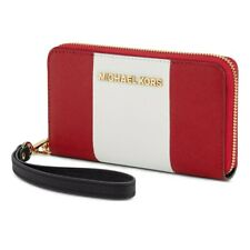 NIB Michael Kors Essential Zip Wallet for iPhone 6 Red/White/Black Saffiano