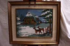 Quadro a mezzopunto cornice raffigurante paesaggio innevato 70 x 60 embroidery