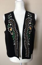 Zara Women's Vest Jacket Black Pure Leather Embroidered Sz L