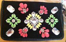 NEW - CLAIRE'S black multi beaded purse/mini grab bag wristlet