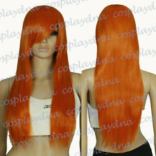 "20"" Heat Resistant Pumpkin Orange Medium Wigs with Side Bangs Cosplay Wig 72735"