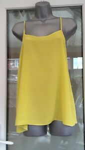 New Look Yellow Strappy Swing Camisole Vest Top Size 10