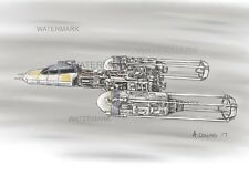 Y-Wing Sketch direct from Aussie artist. A4 STAR WARS art print