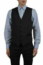 Dolce & Gabbana Men's Wool Silk Black Button Down Vest US 38 IT 48