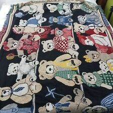 Crown Crafts Teddy Bear Blanket Fringe Multi Color 50 x 70 Throw Rainbow
