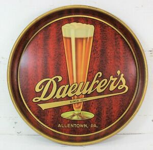 1930's Daeufer Brewing Company Tin Litho Beer Tray NEAR MINT Allentown, PA