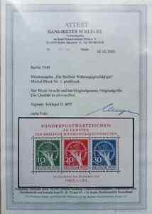 Währungsgeschädigten-Block 1949, Block 1, postfrisch, Fotoattest Schlegel BPP