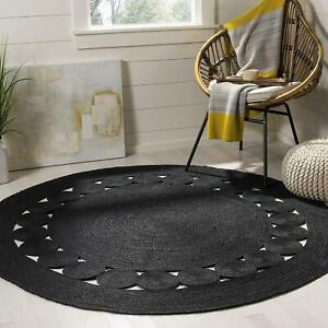 Jute Rug Black Round Natural Handmade Style Reversible 4x4 Feet Rustic Look Rug