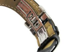 22MM BLACK ITALIAN LEATHER WATCH BAND STRAP WITH CLASP BUCKLE Made For Tissot