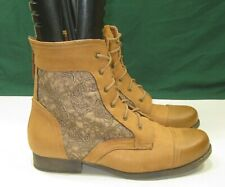 """NEW LADIES TAN 1"""" Block Heel Round Toe Sexy Lace Up Ankle Boots women Size 8"""