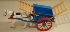 DTE ENGLAND BRITAINS WHITE HORSE DRAWN BLUE/TAN FARM HAY CART