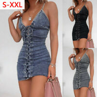 Women Sexy Lace Up Bodycon Dress Ladies Strappy Party Clubwear Mini Denim Dress