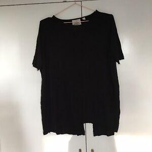 Black Cheap Monday Split Enfold Top Shirt Short Sleeve T-Shirt Size Large 14 16