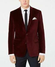 Bar Iii Velvet Slim Fit Sport Coat 42s Burgundy Red
