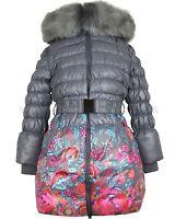 Lisa-Rella Girls' Floral Print Down Coat with Fur Trim, Sizes 6-16