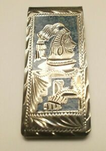 Vintage Mexico Sterling? Silver Turquoise Inlay Aztec Design Money Clip