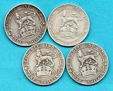 More details for 4 x silver shilling coins dated 1902 - 1910. king edward vii.