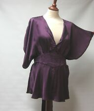 GHOST LONDON PURPLE SATIN LOOK BOHO TUNIC TOP KIMONO EMBROIDERED SASH BELT UK L