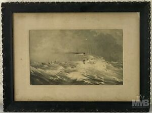 Antique Maritime Nautical Seascape Ship Boats in Storm Black White Engraving SMS