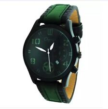 DOOKA Chaxigo Men's Military Style Army Leather Strap Watch 2016-1 (Green/Black)