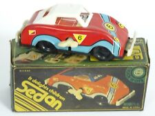 RARE VOITURE RED ROADSTER SEDAN CAR TIN FRICTION TOY MS 040 CHINA ~ 5.5""
