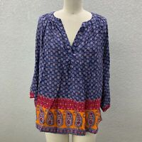 Soft Surroundings Peasant Tunic Top Blouse Women's M Blue Boho Flowy Long Sleeve
