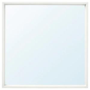 65x65cmSQUARE Shape Wall Mirror Home Decor Hanging Bathroom Frame Mirror (White)