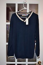 Concrete Men's V Neck Sweater Navy Blue With Tan/Beige Collar Size L New NWT