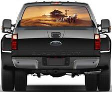 Draft Horses at Work Rear Window Graphic Decal Sticker Truck SUV Van Car
