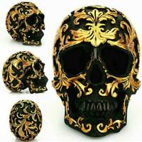 Resin Gold Skull Statue Figurine Human Skeleton Head Halloween Re Decor S5J1