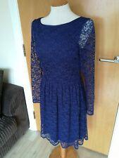 Ladies Dress Size M 12 Blue Lace Skater Party Evening Wedding OASIS