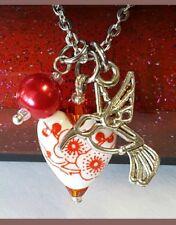 HUMMINGBIRD NECKLACE VINTAGE HEART GARDEN LOVE FLOWER MOM BIRTHDAY GIFT RED NEW