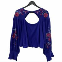NWT FREE PEOPLE Blue Lita Floral Embroidered Top Size Small