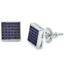 Black Onyx Square Micro Pave Stud .925 Sterling Silver Earrings