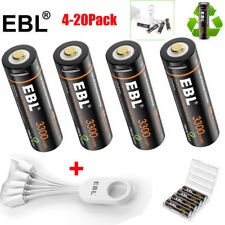 Lot EBL USB Rechargeable Li-ion Batteries 1.5v AA 1600mAh 3300mWh with Cables