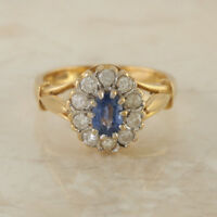 Vintage 18ct Yellow Gold Oval Sapphire Diamond Oval Cluster Ring Size H