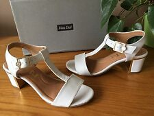 Ladies Van Dal Malone white leather t-bar open slingback sandals UK 4 D EU 37