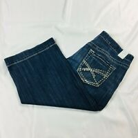 Maurices Womens Juniors Crop Jeans Size 11/12 Blue Mid Rise Stretch Gaucho