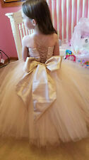 JILLY BEAN TUTUS 4T FLOWER GIRL PAGEANT BALL FORMAL DRESS CHAMPAGNE TAUPE
