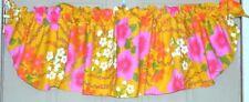 """(1) Vintage Rod Pocket Curved Floral Valance ~ Gold Multi ~ 14"""" L x 52"""" W NEW"""
