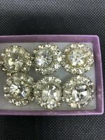 """Vintage Crystal Rhinestone Buttons, Lot of 6, Ea Measures 3/4"""""""
