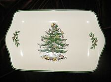 "SPODE ""CHRISTMAS TREE"" Dessert Tray Holly Berries White Green Holiday Serving"
