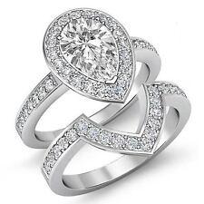 Pera Diamante Halo Pavé Novia Compromiso Set Anillo GIA i SI1 14k Oro Blanco