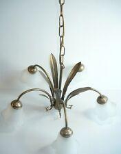 LAMPADARIO in ferro con foglie a 5 luci con vetri