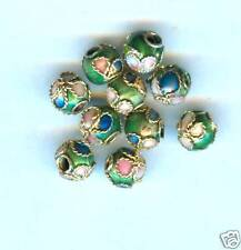 100 Round Green  Cloisonne Metal Beads Enamel 5.7 mm     CMMG